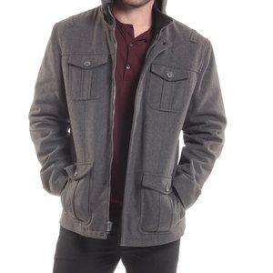 Grey Wool Blend Cargo Pocket Pea Coat